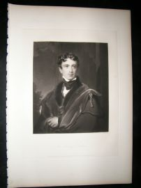 After Thomas Lawrence 1838 Folio Mezzotint Portrait. Earl of Durham